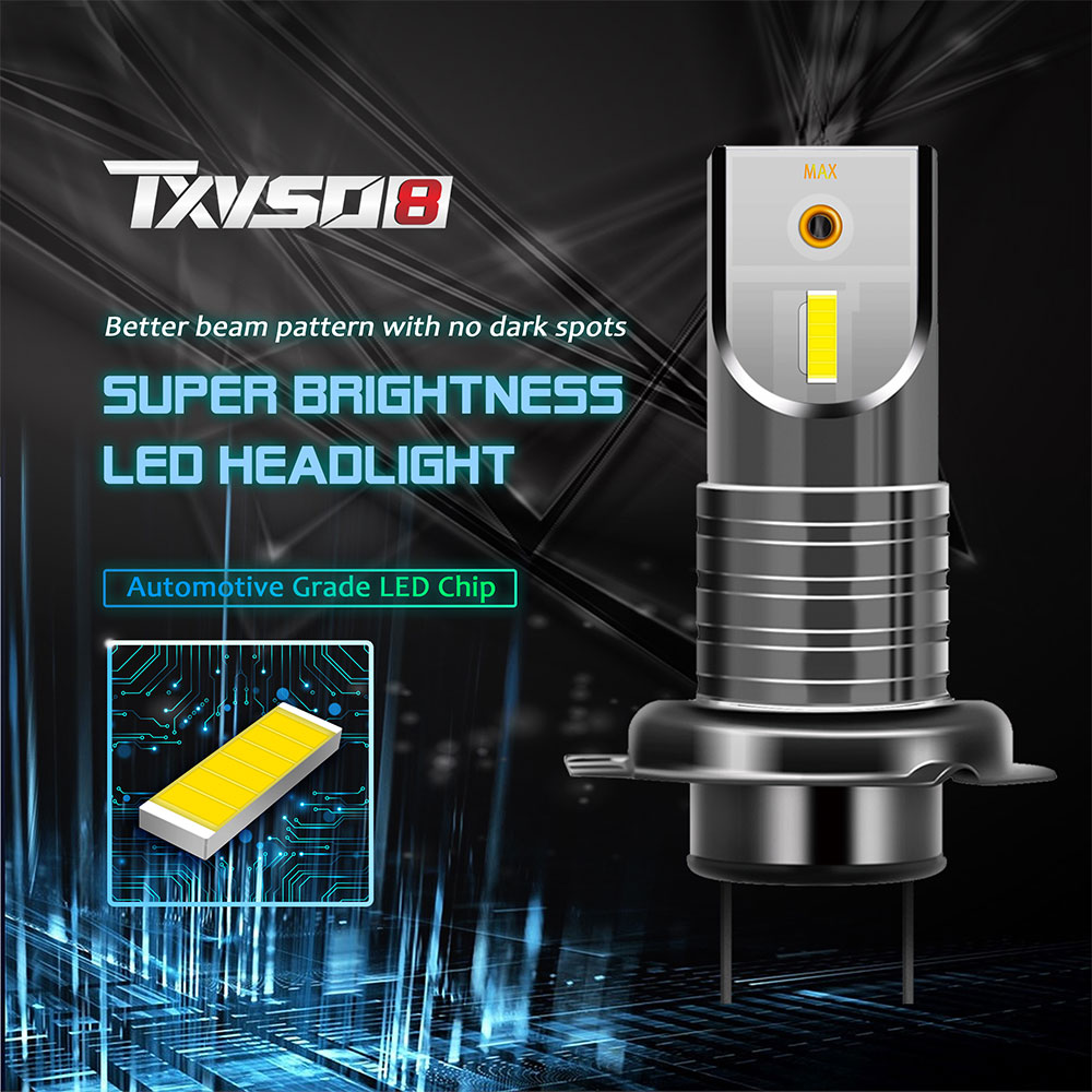 TXVSO8 H7 Led Lights for Car Mini 6000K Headlight 55W/Bulb Universal Super Bright COB Lamps for Automobiles Luces Led Para Auto