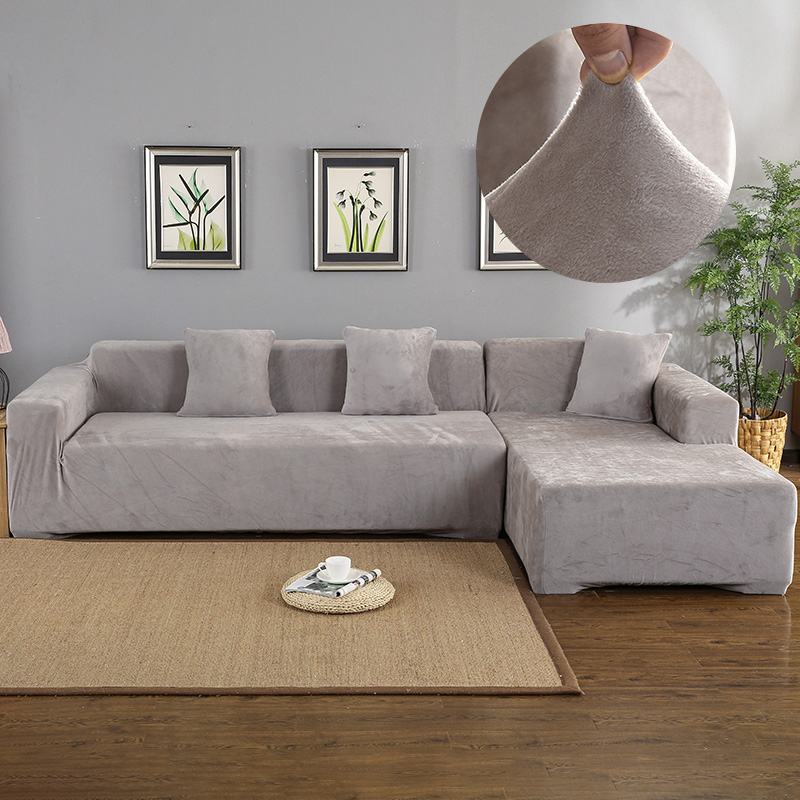 velvet 2pcs covers for corner sofa living room l shaped couch slipcover case chaise longue corner sofa cover elastic stretch