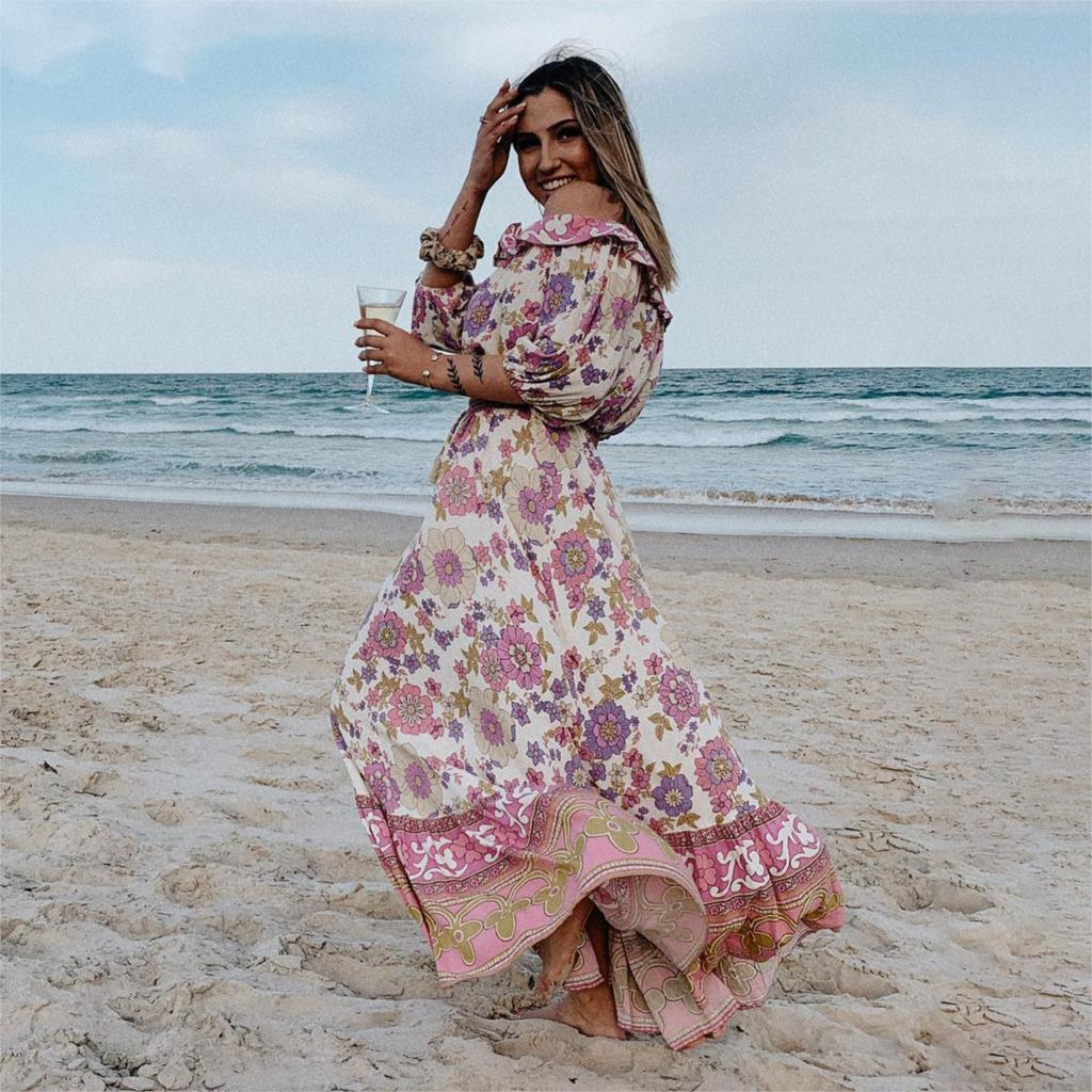 Boho Floral Printed Two Pieces Set Sexy Off Shoulde Half Sleeve Blouses Elastic Waist Skirts 2019 Summer Loose Casual Women Sets