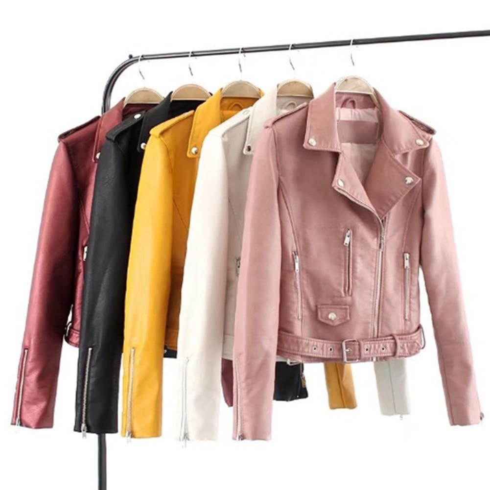 H0de7d578a18e402d88289dc1ee93ee19A Fashion Punk Women Coat Jacket Leather Long Sleeve Lapel Zipper Button Motorcycle Jacket Short Coat For Women's Clothings