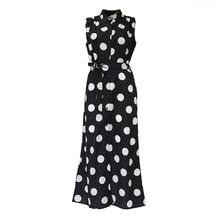 Sisjuly Polka Dot Shirt Dress Women Sleeveless Vintage Casual Office Sexy Split Elegant Black Summer Chiffon Retro Dresses