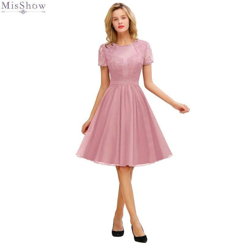 Misshow Evening Dress 2020 Pink Chiffon Short Formal Party Gown 2019 Elegant Lace Applique Sleeved robe de soiree