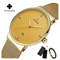 Marca wwoor assista men luxo aço inoxidável à prova dwaterproof água relógios calendário quartzo relógio de pulso ouro masculino montre homme 2018