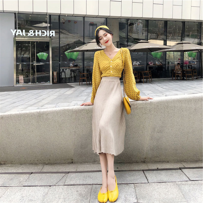 2019 New Style Western Style Network Red High Cold Royal Sister-Style Skirt Two-Piece Set Hyuna Tops Early Autumn Clothing By Ag