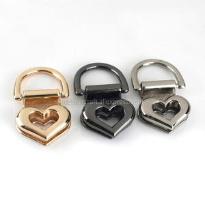Hardware Clamps Purse Anchor-Link D-Rings Metal-Bag Hanger 2pcs Heart with for Gusset
