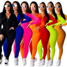 Outono 2020 mulher moda sólida com capuz de duas peças terno feminino jogging com zíper superior com calças conjunto sportwear treino