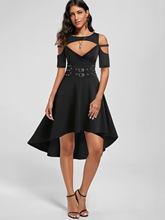 Wipalo grande taille décontracté femmes robe épaule froide haute basse découpé gothique robe Harajuku demi manches robes noires Vestidos 3XL