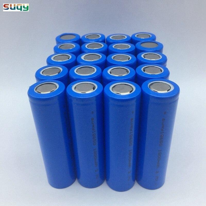 Suqy 12/18/20/24/30/36/40 pièces 100% Bateria Recargable 3.7v 1800mah 18650 Batterie Rechargeable Batterie Avec Chargeur sans Pcb