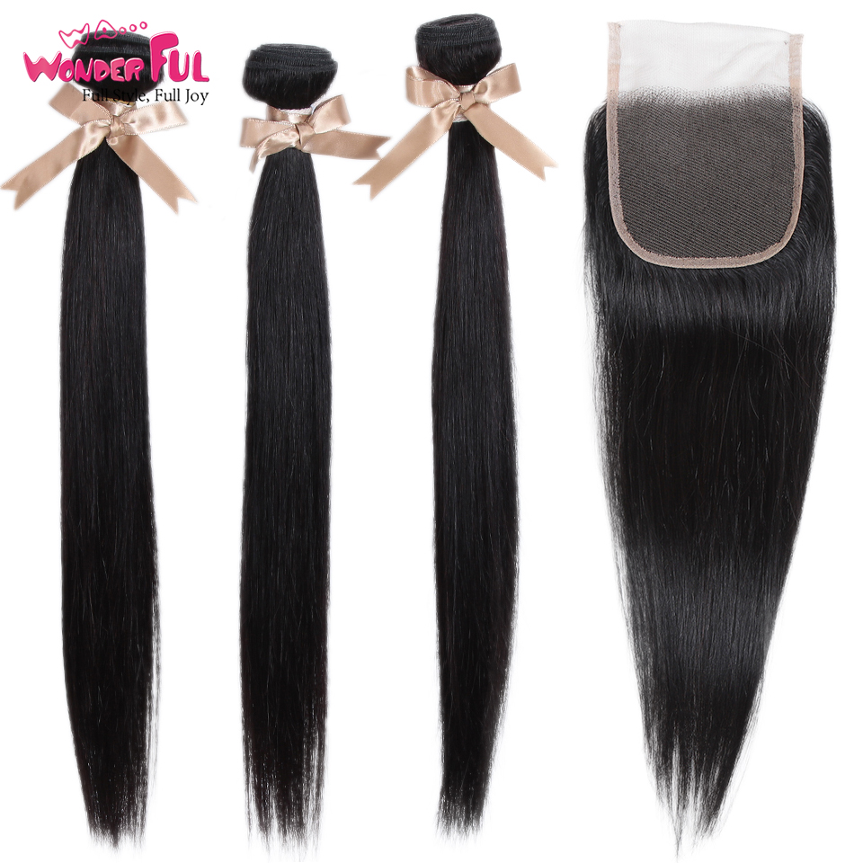 Remy 3 Bundles with Closure Straight Human Hair Bundles with Closure Brazilian Hair Weave Bundles in 3 4 Bundles with Closure from Hair Extensions Wigs