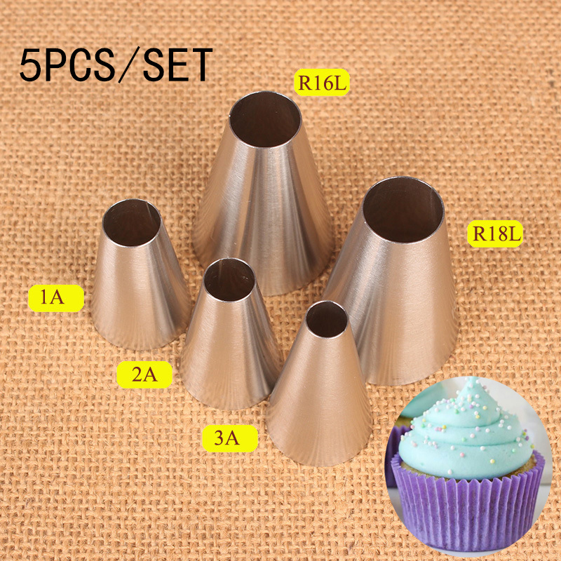 5pcs Round Cake Piping Nozzles For Decorating Cakes Cookies Cupcake Pastry Nozzles Macaron Dessert Cream Icing Piping Tips