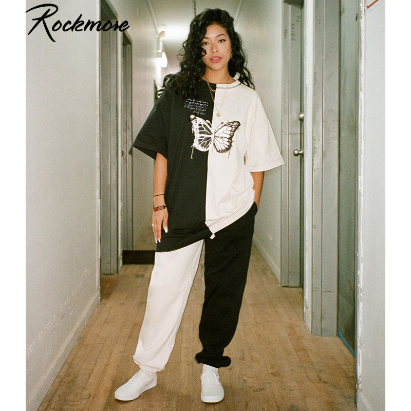 Rockmore Plus Size Tshirts Women Contrast Color Butterfly Print Streetwear T-shirts Ladies Short Sleeve O-Neck Harajuku Shirts