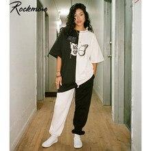 Rockmore artı boyutu gömlek kadın kontrast renk kelebek baskı Streetwear t-shirt bayanlar kısa kollu o-boyun Harajuku gömlek