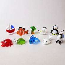 10pcs Murano glass figurine Sailboats, clown fish, coconut trees, tropical penguins, crabs, tortoises, dolphins, seagulls