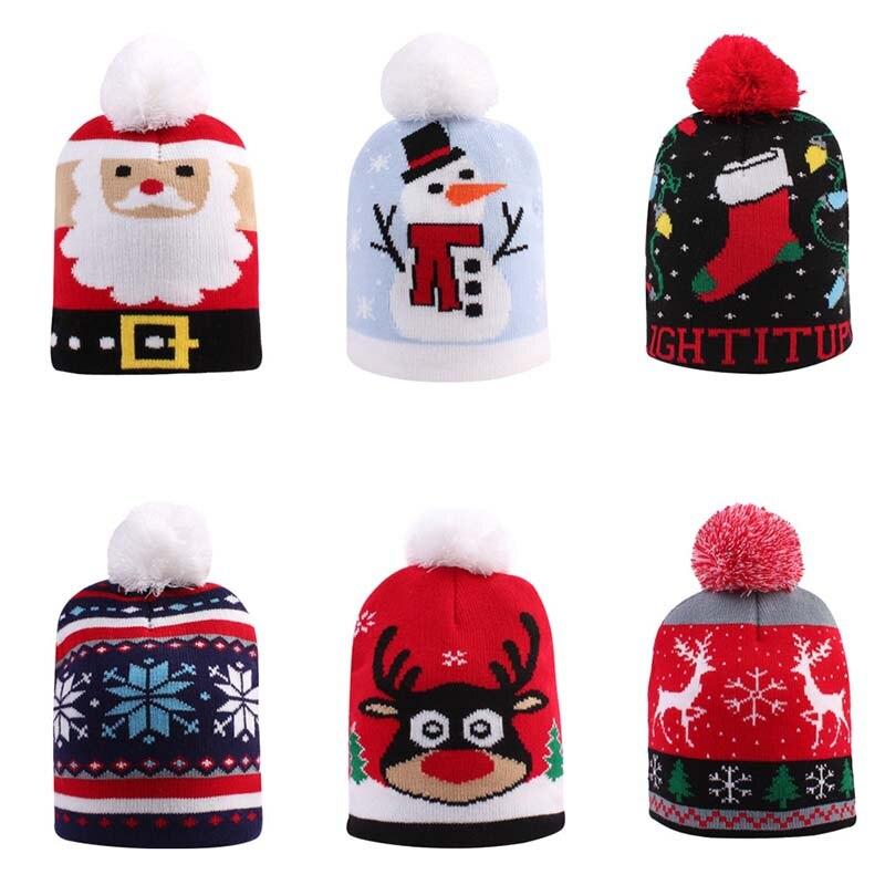 Купить вязаная шерстяная теплая рождественская шапка для малышей на