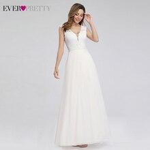 Ever Pretty Simple Beach Style Wedding Dresses A Line V Neck Zipper Appliques Elegant Lace Bride Dresses Vestido De Novia 2020