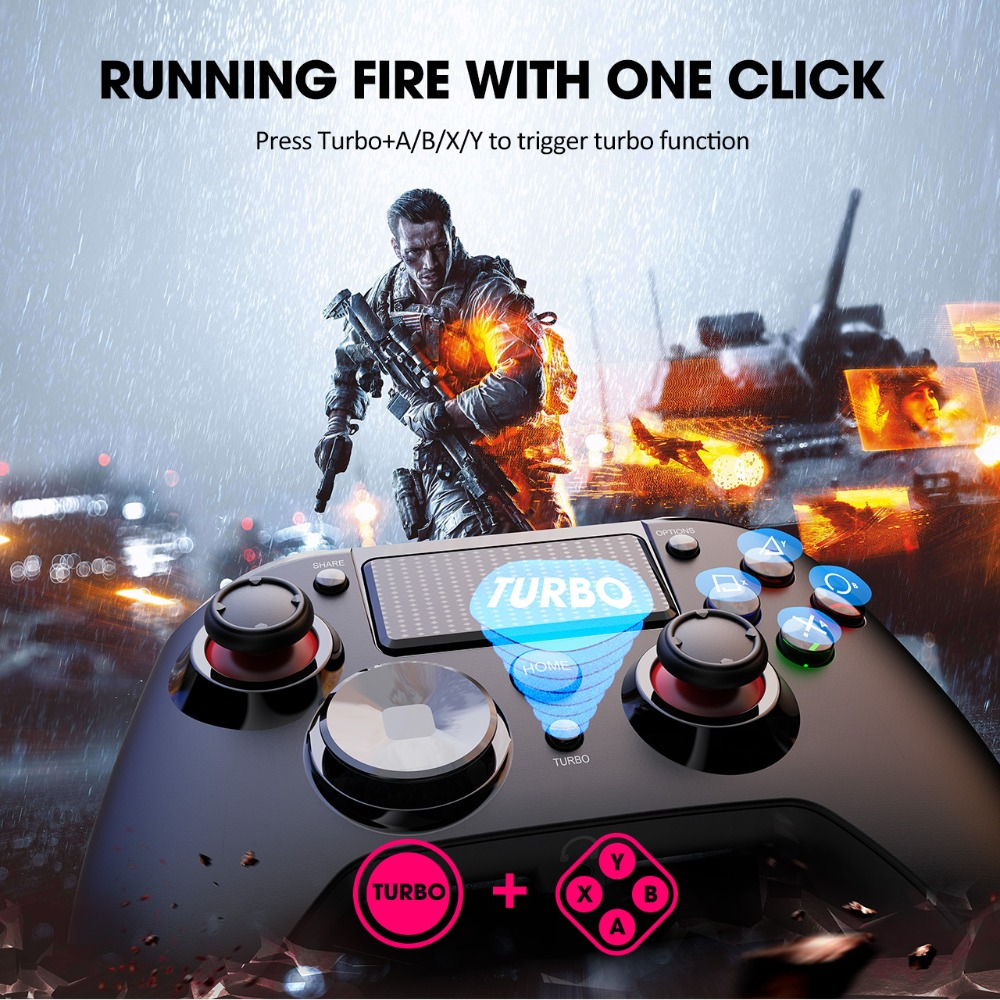 PICTEK PC236 Wireless Gamepad Bluetooth PS4 Controller For Playstation 4 With Audio Port Dual Vibration LED Light For PC Android (3)