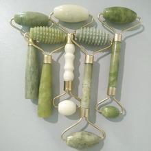 Ролик для массажа лица с двумя головками, Нефритовый ролик для кожи, лица и тела, расслабляющий инструмент для похудения