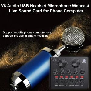 Image 3 - V8 Bluetooth Audio USB Headset Microphone Webcast Live Sound Card 112 kinds of electric sound Broadcast for Phone Computer PC