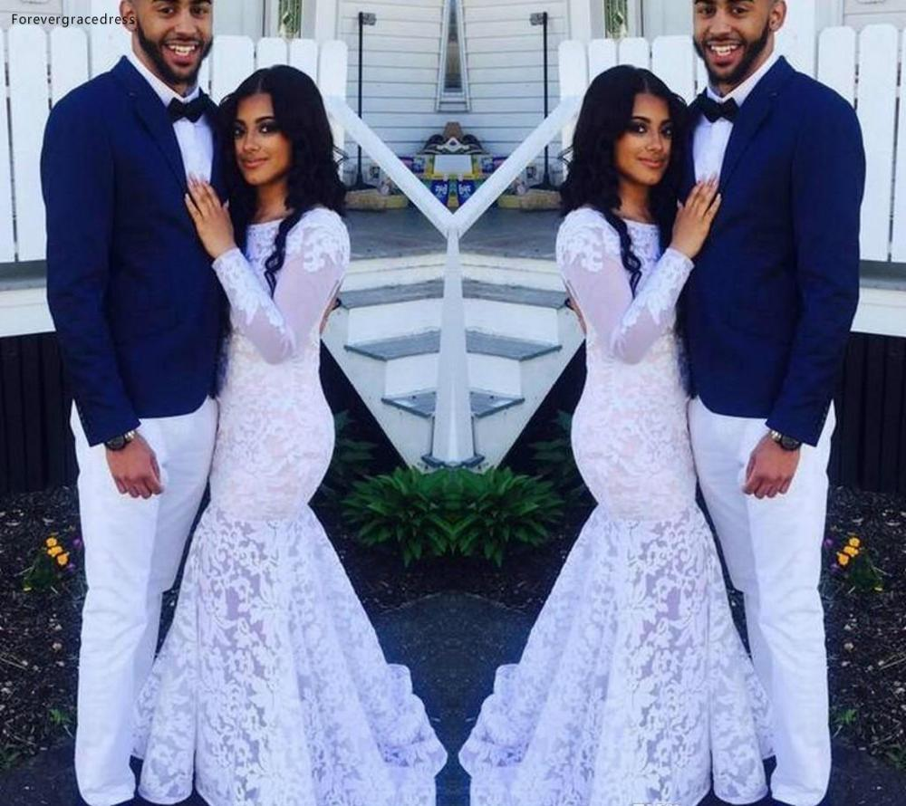 2019 Cheap Long Sleeves Wedding Dress Mermaid Lace Back Zipper Garden Bridal Gown Custom Made Plus Size