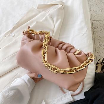 2020 nuevos bolsos de hombro a la moda de piel sintética suave para mujer elegantes bandoleras cruzadas con cordón de acrílico
