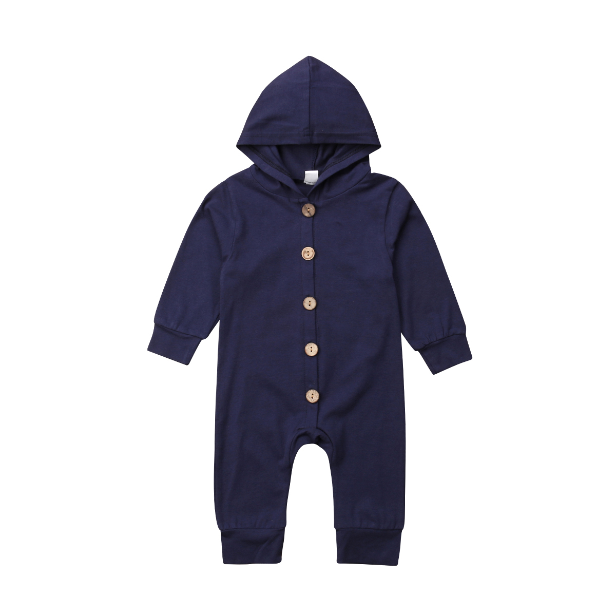 Toddler <font><b>Baby</b></font> Clothes Hooded Long Sleeve Button Boy Girl Kids <font><b>Baby</b></font> <font><b>Rompers</b></font> Cotton Jumpsuit New Born <font><b>Baby</b></font> Clothes Casual Outfit image