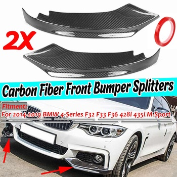 Real Carbon Fiber 2pcs Car Front Bumper Splitter Lip Diffuser Spoiler For BMW 4-Series F32 F33 F36 428i 435i M-Sport 2014-2019 image