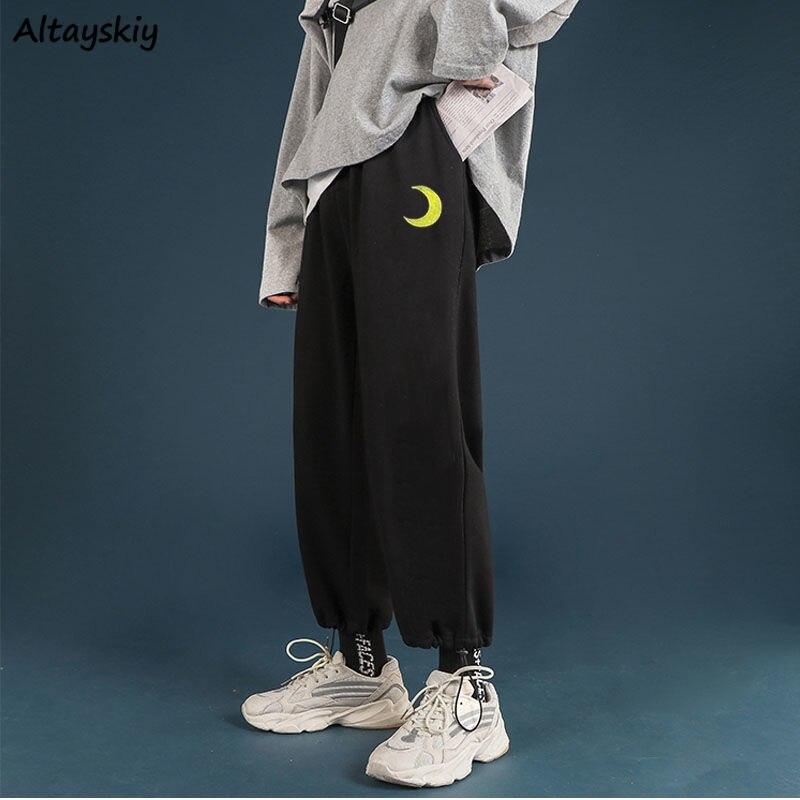 Pants Women BF Embroidery Simple Cute Boyfriend Harajuku Elastic Waist Plus Size 2XL Loose Unisex Hip-Hop Adjustable Leg Opening