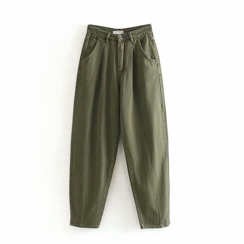 2020 Women Streetwear Pleated Mom Jeans High Waist Loose Slouchy Jeans Pockets Boyfriend Pants Casual Ladies Denim Trousers