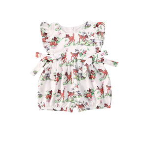 Baby Girl Flight Sleeve Shorts Jumpsuit Cute Fawn Print Waist Bow With Ziper Romper(China)