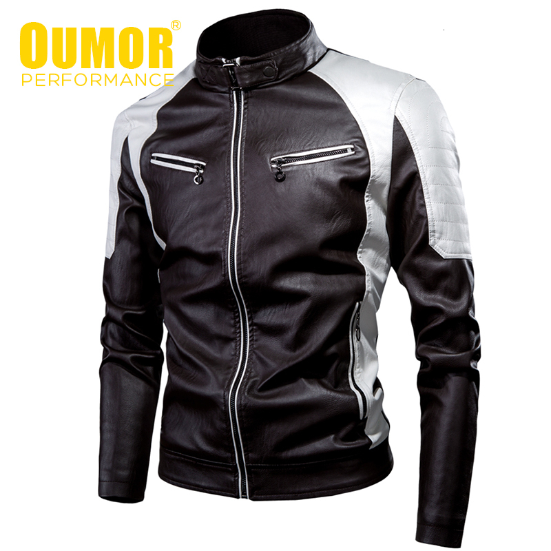 Oumor Men 2019 Winter New Casual Motor Thick Fleece Leather Jackets Men Autumn Outdoor Fashion Biker Warm PU Leather Jacket Men