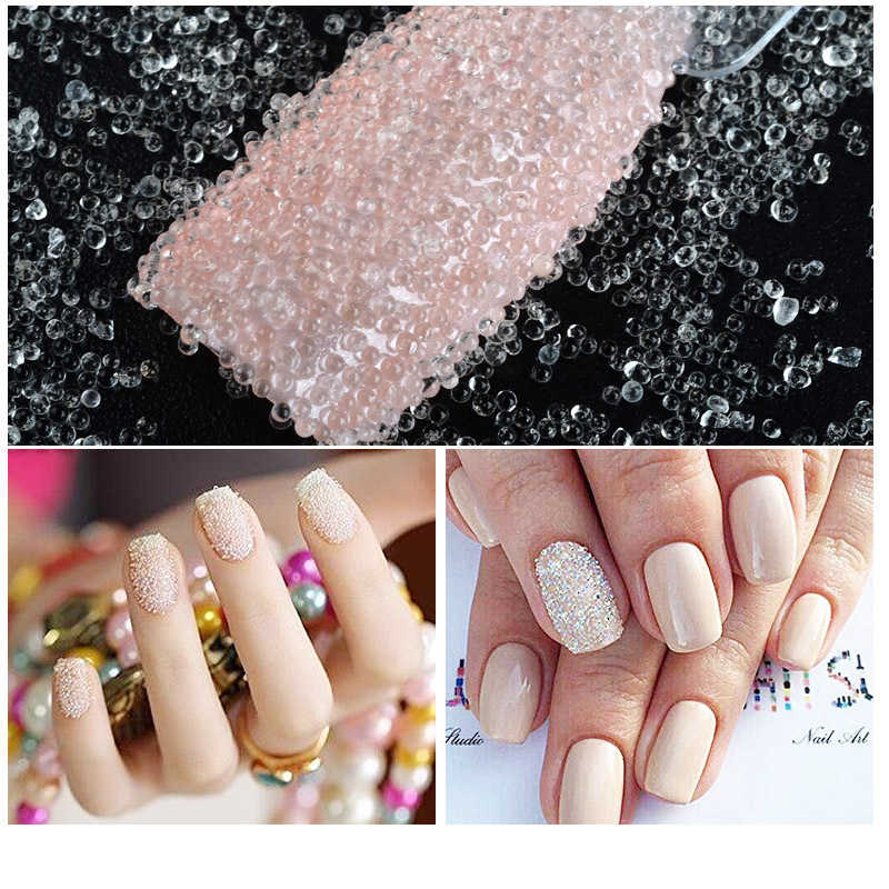 1 Box Mini Kralen Transparante Nail Glitter Rhinestone Sharp Bodem Diy Crystal Rhinestones Voor Nail Tips 3D Nail Art Decoratie
