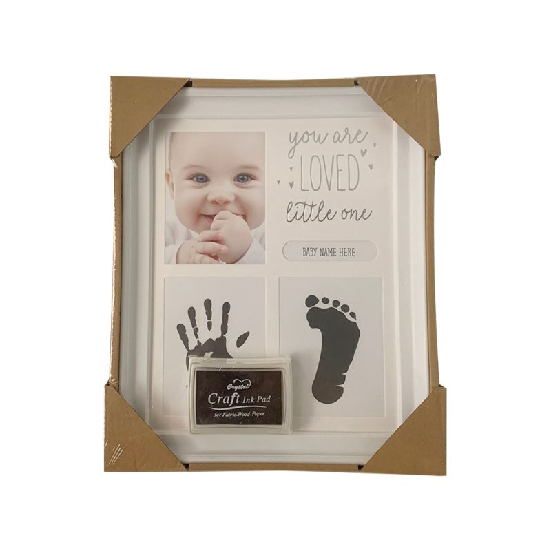 Baby Kids Birthday Gift Newborn Hand Foot Print Ornaments 12 Months Photo Frame 72XC
