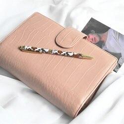 Presell, Agenda Personal A6 de cuero genuino rosa, diario, libreta de escritorio, Agenda, organizador, Bolsillo grande