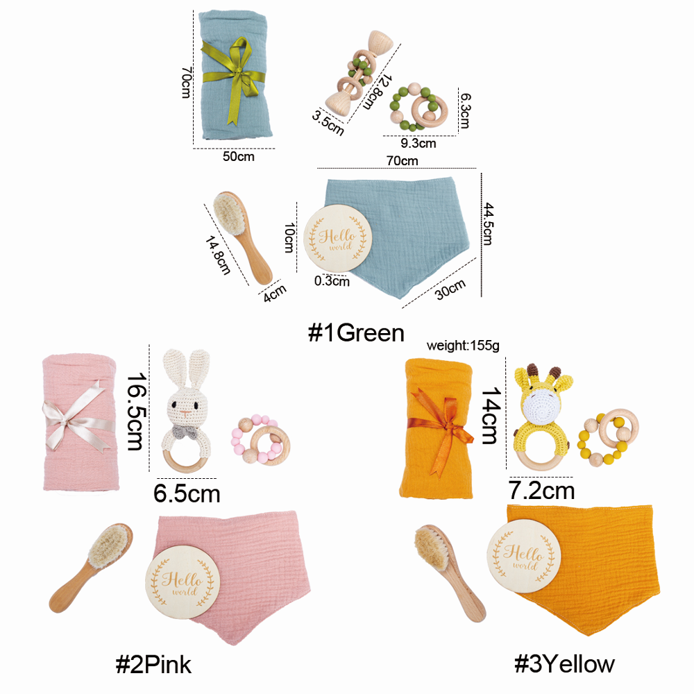 Children's Bath Toys Set Kid Swaddle Wrap Baby Milestones Brush Rattle Bracelet Bibs Photography Supplies Birth Gift
