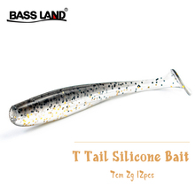 New 12pcs/Lot T Tail Soft Lures Double Color Silicone Bait 7cm 2g Carp Bass Pike Jig Sea Fishing Baits Swimbait Wobbler Pesca