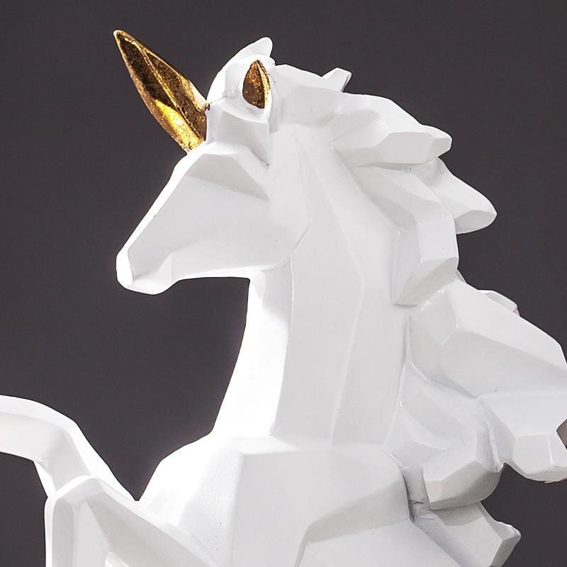 Geometric Unicorn Sculpture Abstract Resin Pegasus Statue Horse Constellation Myth Creature Ornament Craft Decoration Furnishing Just6F