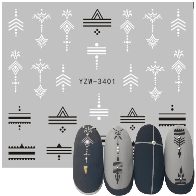 Nail Stickers Mixed Black White Geometric Designs Nail Art Water Transfer Decals Tattoos Sliders Manicure Decorations