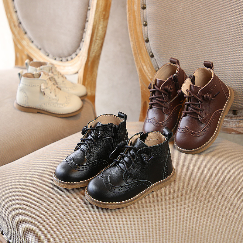 Autumn Winter Children Ankle boots British style tollder Genuine leather Motorcycle boots Boys Girls kids shoes Plush Snow boots