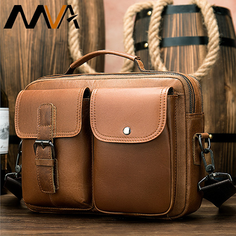 MVA Men's Genuine Leather Bags Leather Mens Briefcase Office Bag For Man Male Loptop Bags For Computer Men Business Bag 8592