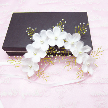Fashion handmade silk gauze crystal pearl flower bride headband hairpin bridal tiara headpiece hair jewelry wedding accessories