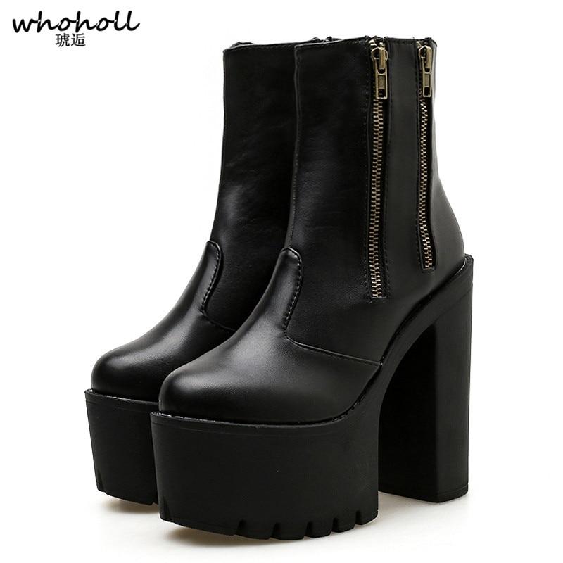 2019 femmes cheville en cuir bottes Ultra haute plate-forme talons noir talons hauts femmes chaussures en caoutchouc semelle Zipper chaussures décontractées
