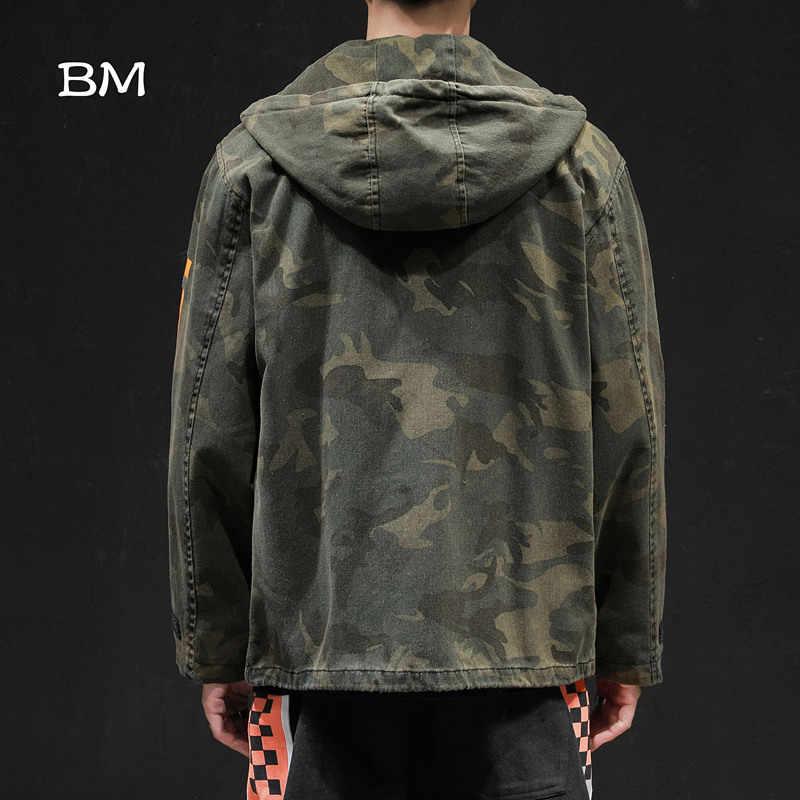 Ropa de calle chaqueta del ejército chaqueta militar coreana hombres de moda camuflaje cortavientos abrigo de gran tamaño Hip Hop ropa con capucha 2019
