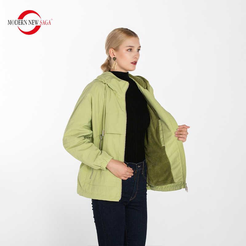 MODERN yeni SAGA 2020 bahar kadın ceket pamuk yastıklı ceket kapşonlu bayanlar ceketler sonbahar sıcak kadın mont gevşek polar astar