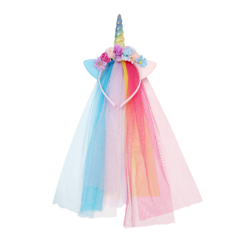 Children's Unicorn Net Hair Hoop Christmas Tiara Baby Kawaii Hat Simulation Flower Headband Toys For Girls Anniversaire Enfant
