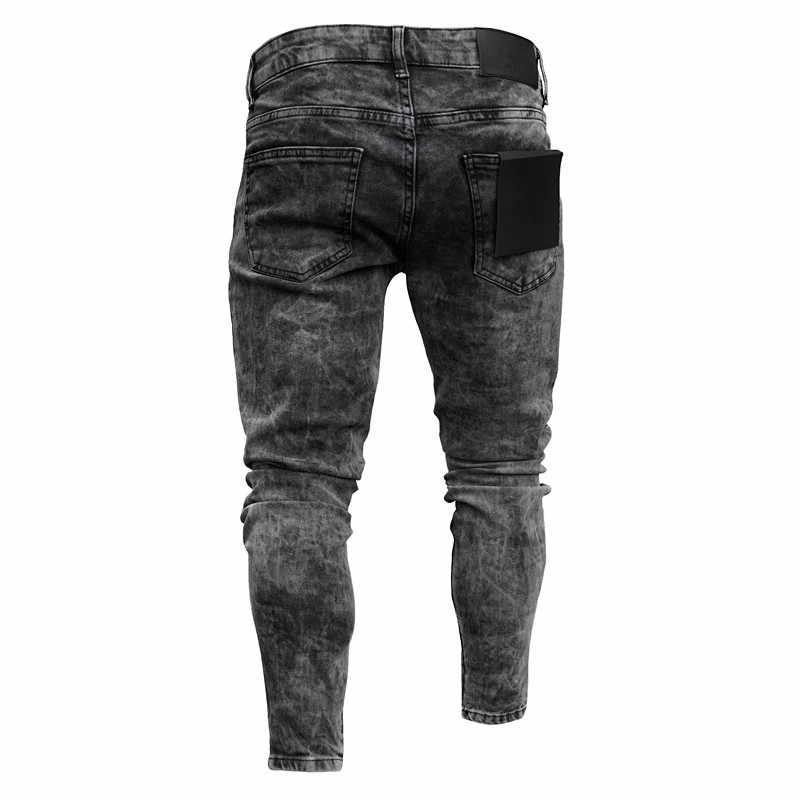 Feitong กางเกงยีนส์ผ้าฝ้ายผู้ชายฤดูใบไม้ผลิ 2020 MenClothes กางเกงยีนส์ Distressed Freyed SLIM FIT ยืดกางเกง Ripped กางเกงยีนส์