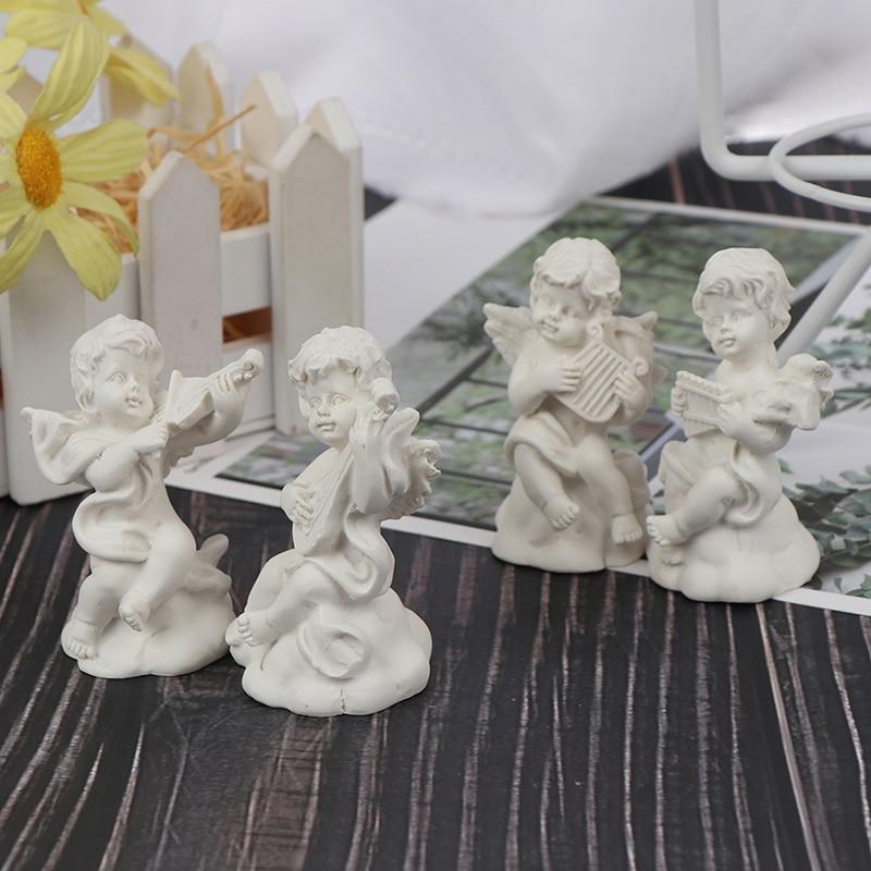 4pc Mini Cute Angel Statue Small Cupid Figure Home Decor Music Fairy Model Sketch Practice Estatua Festival Gift Home Figurines