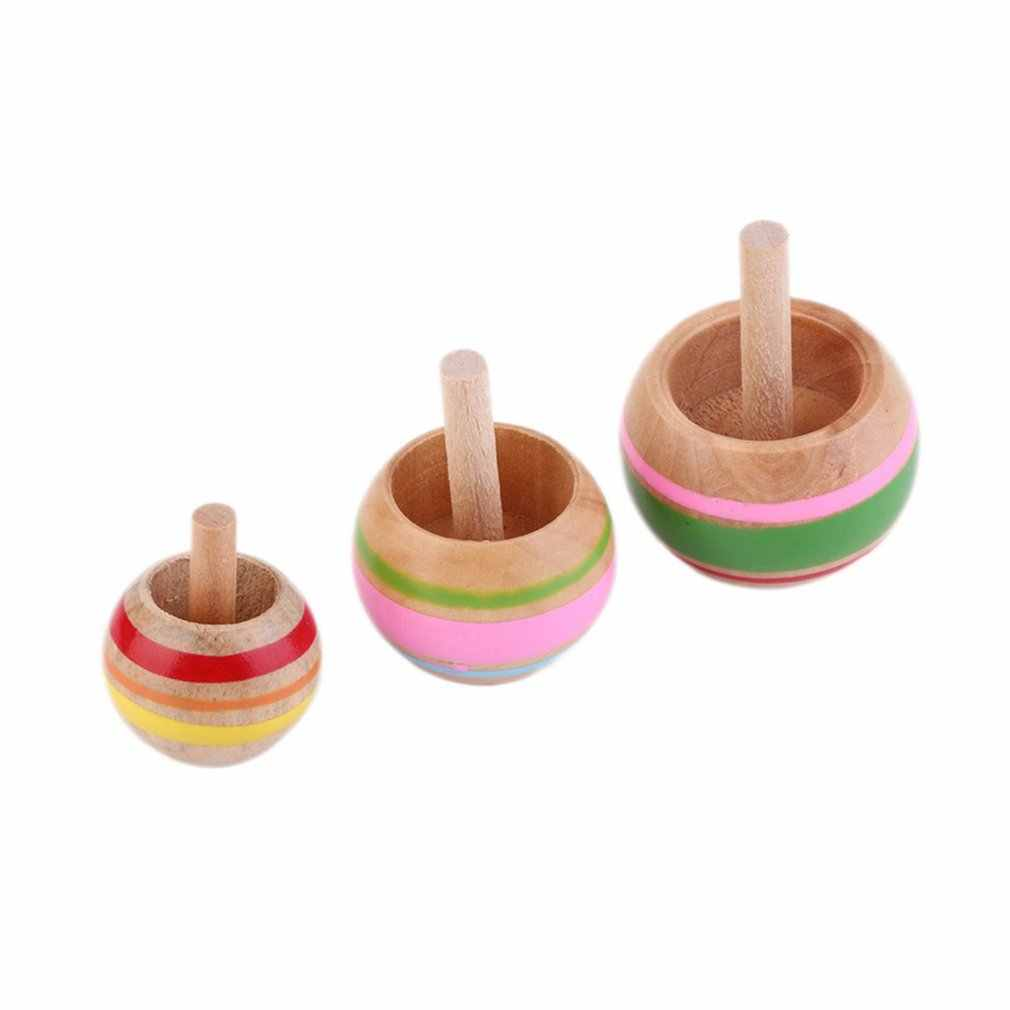 Novelty 3pcs Wooden Colorful Spinning Top Kids Wood Children's Party Toy Stock Offer New Hot!