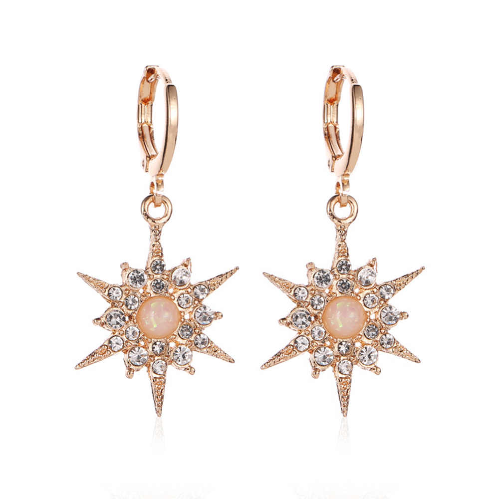 2019 INS model with the same earrings inlaid zircon sun flower exaggerated earrings fashion earrings for women