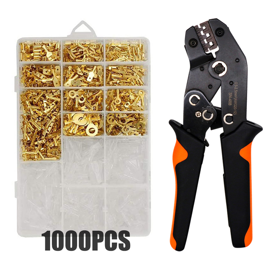 2.8/4.8/6.3mm Crimp Terminals Insulated Male and Female Wire Connector Electrical Wire Spade Connectors Insulated Sleeves Kit