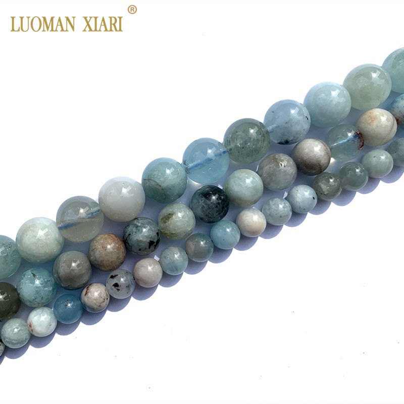 Fine 100% Natural AAA Old Ore Aquamarine Gemstone Round Stone Beads For Jewelry Making DIY Bracelet Necklace 6/8/10mm Strand